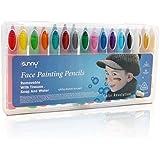 Xcellent Globa Lápices de Pintura de Cera para Cara y Cuerpo 16 Colores Pintura y Palillos no Tóxicos Fácil de Lavar BT029