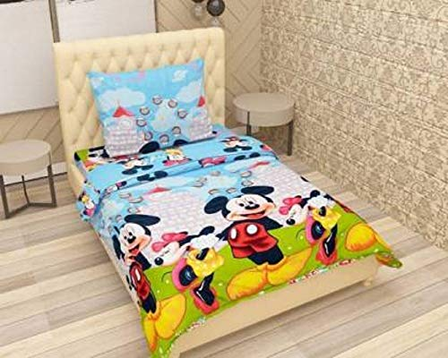 BLUEDOT 144 TC Microfiber Bedsheet with 1 Pillow Cover and with Attractive Digital Printed Design in Sky for Single Bed| Color not Fade Guarantee |Size: 60x90inch (152x228cm) (Sky)