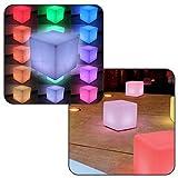Linxor France  Siège cube led multicolore sans fil rechargeable 40 x 40 x 40 cm + télécommande - Norme CE