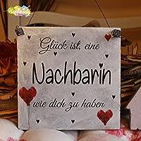 Shabby Style Holzschild - Glück ist, eine Nachbarin wie dich zu haben ~ Nachbarn ~ Weihnachten ~ Geschenk