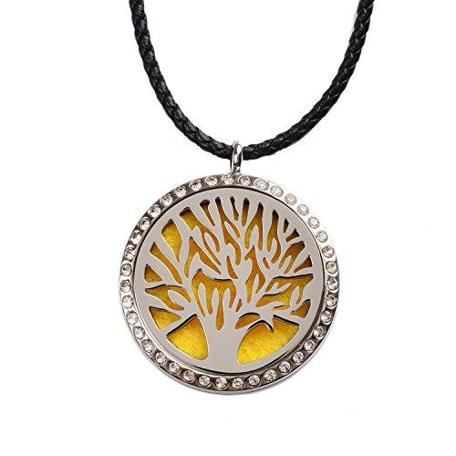 M. JVisun Aromaterapia Eternal Oak Tree diamante ciondolo Olio Essenziale Diffusore di profumo Collana in acciaio 316L acciaio chirurgico anallergico + 24