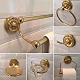 Brass Embossed Base 6 Piece Bathroom Set Toilet Roll Holder Double Towel Rail Bath Robe Hook Soap Dish Guest Towel Ring Glass Tumbler Holder Vintage Style Accessories BSE-D-PL