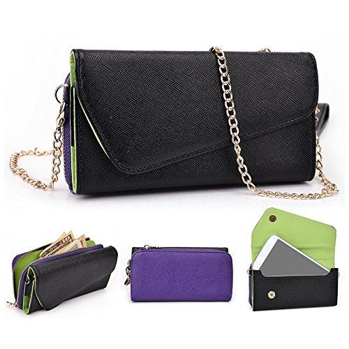 Kroo Pochette Portefeuille Pour Femme wrist-let pour Vivo xplay3s Étui pour téléphone portable Black and Purple Black and Purple