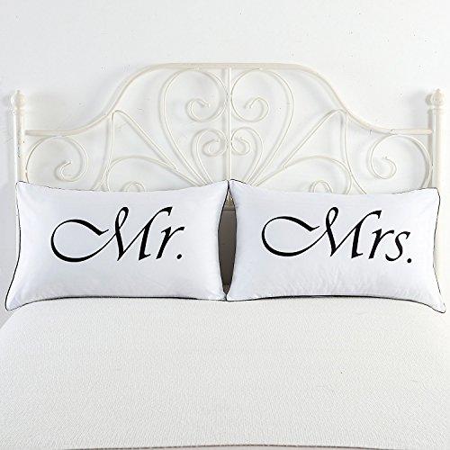 """Federe per cuscino con scritta in inglese """"mr."""" e """"mrs."""", per lui e per lei, per regalo nuziale, matrimonio, anniversario, san valentino, natale, come regalo romantico per lui, per lei, per coppia mr and mrs"""