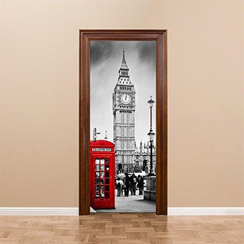 Yanqiao britische big ben telefonzelle tür aufkleber aufkleber einer art wohnaccessoires diy - tapete einfach zu handhabende 77*200CM/30.3*78.7
