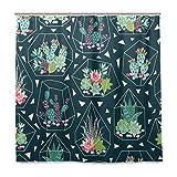 Wamika Sukkulenten Kaktus-Glas-Duschvorhang, Heimdeko, grüne Tropische Pflanze, langlebiger Stoff, schimmelresistent, wasserfest, mit 12 Haken, 183,0 cm x 183,0 cm