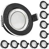 10er LED Einbaustrahler Set Bicolor (chrom / schwarz) mit LED GU10 Markenstrahler von LEDANDO - 5W - warmweiss - 120° Abstrahlwinkel - schwenkbar - 35W Ersatz - A+ - LED Spot 5 Watt - Einbauleuchte LED rund