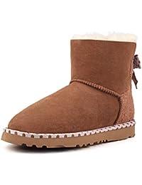 Shenduo - Boots fourrées de mouton femme, Bottes de neige & hiver cuir doublure chaude de laine D5079