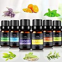 Joylink Aceites Esenciales, 100% Natural Puro, 6 x 10 ml Set de Aceites Esenciales(Lavanda, Menta, Naranja Dulce, Eucalipto, Arbol de Té, Hierba de Limón)
