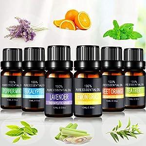 Aceites Esenciales, joylink 100% Natural Puro, 6 x 10 ml Set de Aceites Esenciales(Lavanda, Menta, Naranja Dulce…
