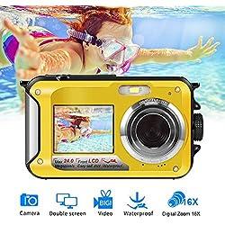 Camara Acuatica Sumergible Full HD 1080P para Snorkeling 24.0 MP Camara Acuatica Pantalla Dual Camaras Fotograficas