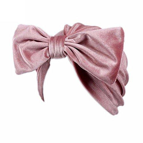 Saingace Frauen Bogen Krebs Chemo Hut Beanie Schal Turban Kopf Wrap Cap (Rosa) (Pelz Nerz Kappe)