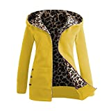 Trada Damen Wintermantel, 1 STÜCK Frauen Plus SAMT Verdickt Kapuzenpullover Leopard Zipper Coat Strickjacke Outwear Hoodie Baumwolle Trenchcoat Mantel Winter Warm Coat (L, Gelb)