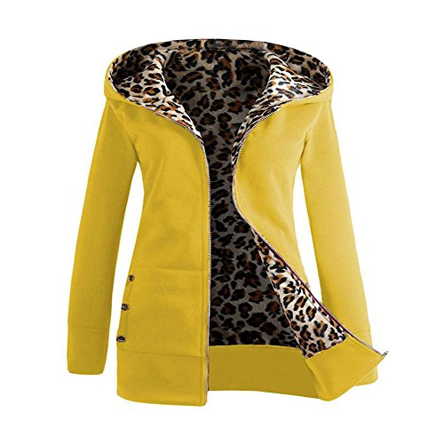 Trada Damen Wintermantel, 1 STÜCK Frauen Plus SAMT Verdickt Kapuzenpullover Leopard Zipper Coat Strickjacke Outwear Hoodie Baumwolle Trenchcoat Mantel Winter Warm Coat (L, Gelb) -