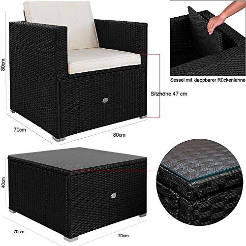 Poly Rattan Lounge 35 tlg Sitzgruppe Sitzgarnitur Gartenmöbel Gartenset Gartengarnitur - 3