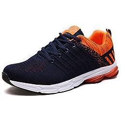 ZapatillasRunningpara Hombre Aire Libre y Deporte Transpirables Casual Zapatos Gimnasio Correr Sneakers Naranja 45