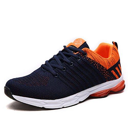 ZapatillasRunningPara Hombre Aire Libre y Deporte Transpirables Casual Zapatos Gimnasio Correr Sneakers Naranja 44