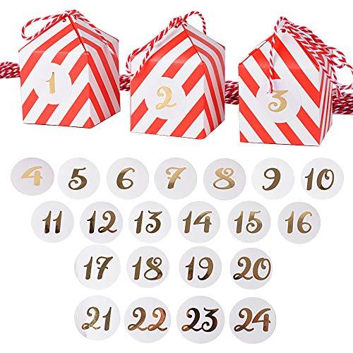 BUONDAC 24stk Adventskalender (24*Schachteln + 24*Zahlensticker + 24*Schnur) Box Zahlen Weihnachtskalender zum befüllen klein Weihnachten Geschenkbox für Süßigkeiten Geschenkschachtel Papierbox
