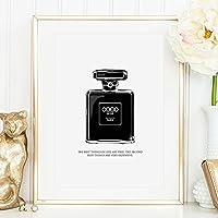Kunstdruck, Sprüche Poster: Coco Noir Perfume Bottle Illustration | Hochwertiges und festes Premiumpapier | Ohne Rahmen
