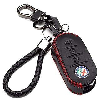 3 Button Protective Leather Cover with Keychain for Alfa Romeo 159 Giulietta Mito Car Remote Control (Red Edition)