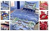 Winter Kuschel Flausch Fleece Bettwäsche Weihnachten Designs, X-Mas Landschaft 135x200 + 80x80
