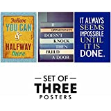 Motivational Posters For Office And Study Room - Set Of 3 Inspirational Wall Quotes| Home Decor |Quotes Decorative Poster - B078Y8DHG8