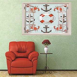 3D Fenster Wandtattoo Wandaufkleber Gebrochenes Loch (50X70 Cm) Rettungsring und ankernagel Schlafzimmer Zimmer Landschaft kinderzimmer Wanddekoration Dekoration