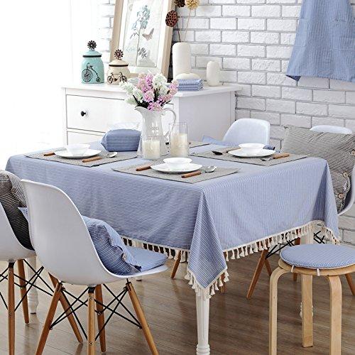 jhxena Modern Gestreift Tischdecke Kaffee Und Tee Tabelle Quaste Table Cover Tuch, Blau 140 * 200Cm