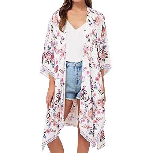 e4a22e2a5853 BURFLY Damen Kimono Robe Lang mit Blumenprint Floral Fee Strand  Asymmetrisch Boho 3 4 Ärmel Lockere Exotische Mantel Bikini Bademode Strand  Badeanzug Kittel ...