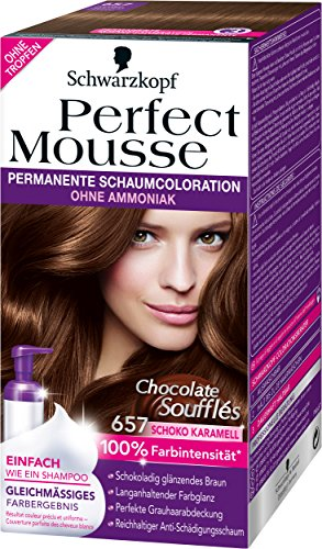 Perfect Mousse Permanente Schaumcoloration, 657 Schoko Karamell Chocolate Soufflés, 3er Pack (3 x 93 ml)
