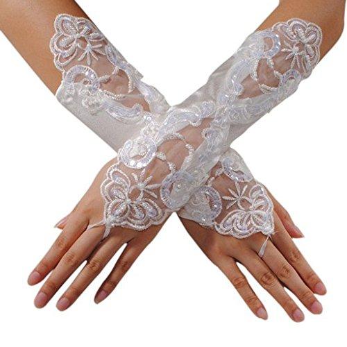 Edith qi Elegante Fingerlose Perlen ,Spitze, Satin, Brauthandschuhe für Hochzeit Kostüm Multicolor