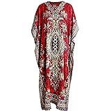 Classic Wear Indian Cottage Womens Casual Long Kaftan Dress Maxi Women Caftan Dress Gown Top Night Dress One Size 52 Inch