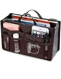 Orpio Multipocket Handbag Organizer Travel Bag Make-up Organizer Bag (Coffee)