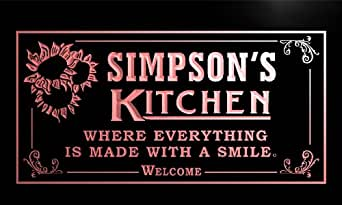ps1126-r Simpson's Personalized Welcome Kitchen Bar Wine Neon Light Sign