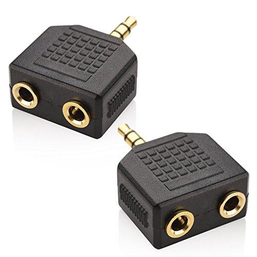 Mobi Lock 3.5mm Audio Stereo und Kopfhörer/Headset Y Splitter Adapter für iPhones, iPad, iPod, Android, Tablets, Laptop und andere Audiogeräte (Packung mit 2 Einheiten) -