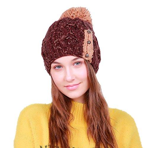 Muster Stricken-wolle-skull-cap (Frauen Wolle stricken Ski Mütze Caps, OYSOHE warme Hut haarige Zwiebel häkeln Winter Schädel Caps (B))