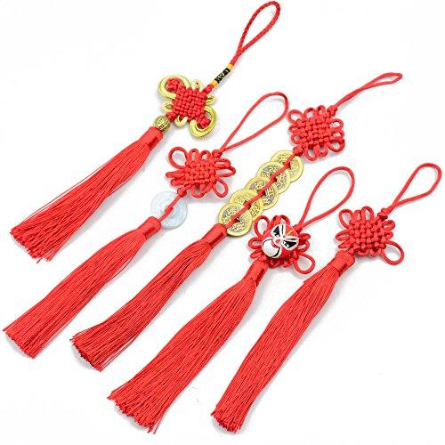 5x Handgefertigt Seidig Floss Chinesische Seide Quaste mit Satin Made Chinese Knoten für Tür und Auto auf die Dekoration, DIY Craft (mixed1)