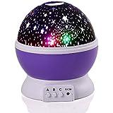 Qedertek Luz del proyector de la Estrella y la Luna para el Niño, Cumpleaños y Fiestas (Purpureo)