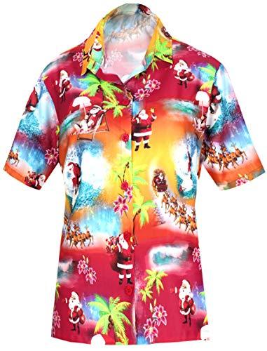 te gedrückt Tunika Hawaiihemd Weihnachten WEIHNACHTSMANN Jingle Bells Weihnachtsbaum Chirstmas Rot_AA100 M - DE Größe :- 44-46 ()