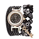 Damenuhr,Gaddrt Flowers Geneva Watches Modische Stilvolle Quarz Armband Damen Diamant Uhr (Schwarz)