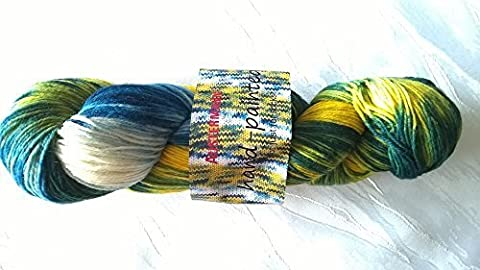 Wool Austermann Hand painted South sea Hand dyed Color gradated yarn 100g - 0015 Tahiti yellow-green-blue color,
