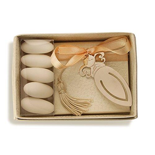 Bomboniera store - bomboniera segnalibro con angelo con packaging e con nastro verde acido per nascita & battesimo