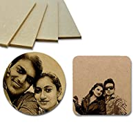 Wooden Photo Coasters - Engraved (Set of 4)