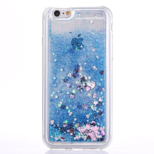 """Coque pour Apple iPhone 6/6s 4.7"""", CLTPY 3D Bord Noir Housse dans Doux Dual Layer Silicone Plastic en Liquide Bling Flash Etui Protection Cristal Case Stars Glitter Sparkles se écoulant Coquille pour  Bleu Pastel"""