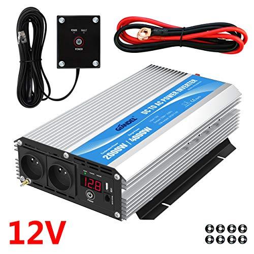 Onduleur 2000W Convertisseur 12V 220V 230V avec télécommande et Dual AC Prises de Courant pour...