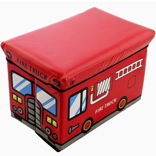 Preisvergleich Produktbild Staubox und Sitzbank Feuerwehr 49 x 31 x 33 cm Spielzeugbox gepolstert