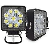 Safego, faro LED da 27W, 12V-24V, ad alta potenza, per fuoristrada, trattori, ATV e quad, 4x 4; angolo di 60°, 27WS-FL, confezione da 2