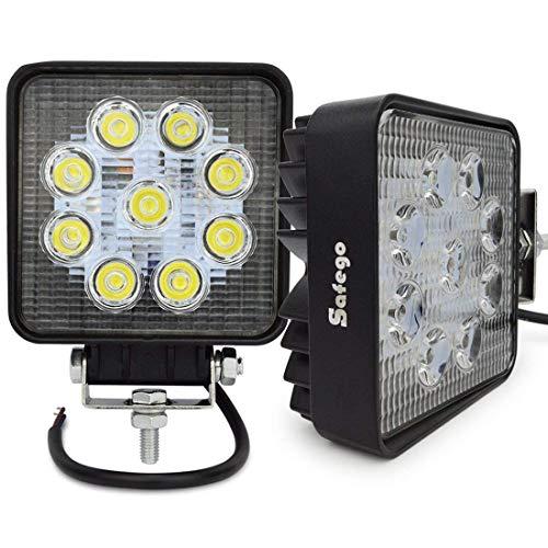 Safego, faro LED da 27 W, 12 V-24 V, ad alta potenza, per fuoristrada, trattori, ATV e quad, 4 x 4; angolo di 60°, 27WS-FL, confezione da 2