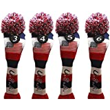 USA Majek Golf 3 4 5 6 Hybrid Set Headcovers Pom Pom Knit Limited Edition Vintage Classic Traditional Flag Stars Red White Blue Stripes Retro Head Cover 3-6 Set