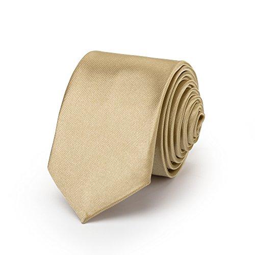 Rusty Bob - Krawatte schmal/dünn 3cm-5cm für Herren [auch für Kinder/Jungen] (uni,nicht gestreift) aus Polyester glänzt wie Seide - Champagner